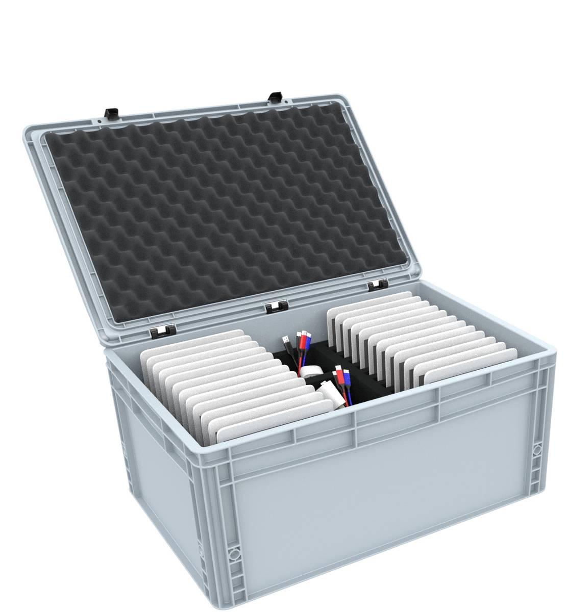 Box für 24 Tablets in schmalen Hüllen bis 14 mm - kompatibel mit Apple iPad, Samsung Galaxy Tab A oder Microsoft Surface Go