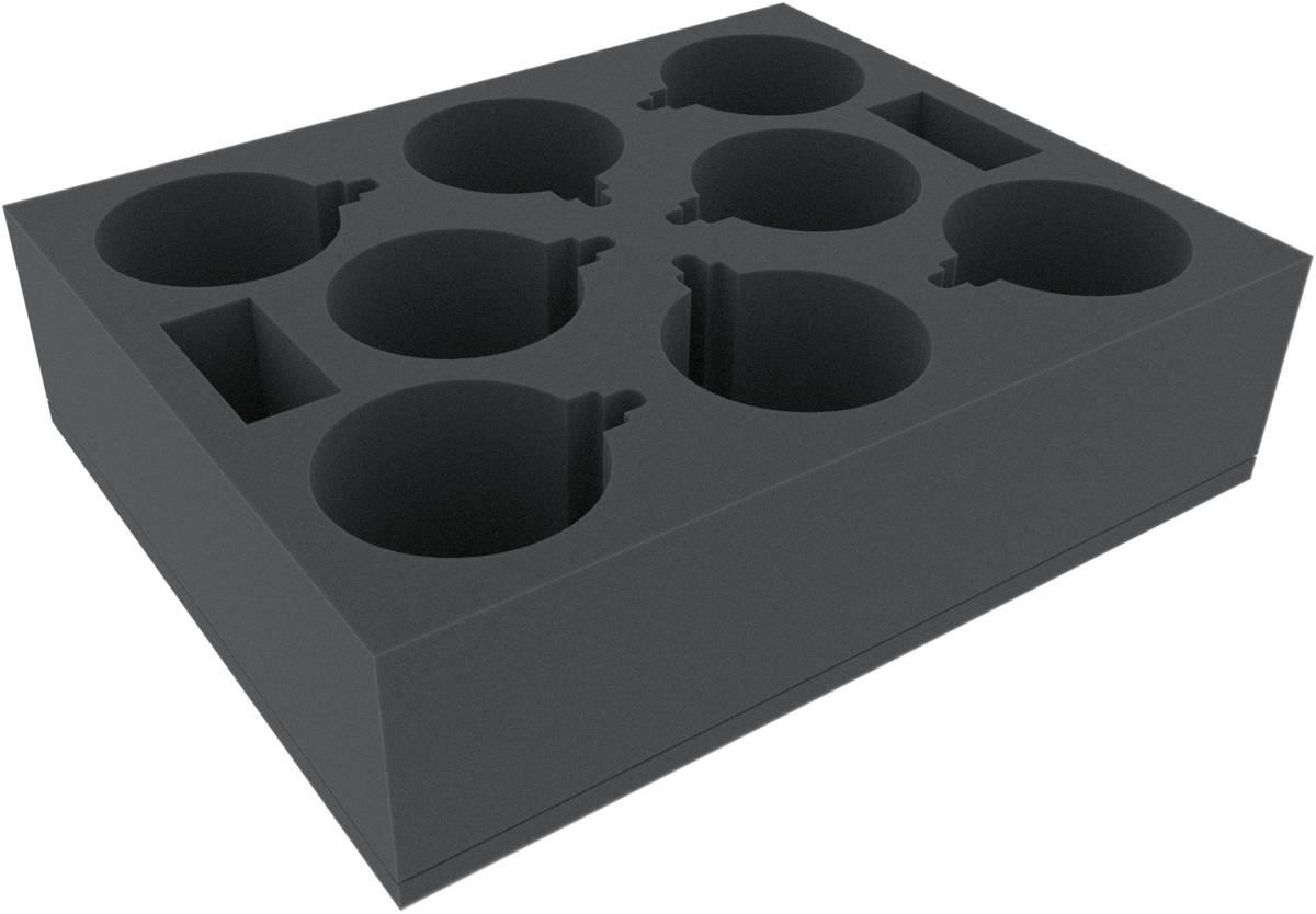 FSMETF090BO Schaumstoffeinlage mit 8 kreisrunden Fächern von 80 mm Durchmesser