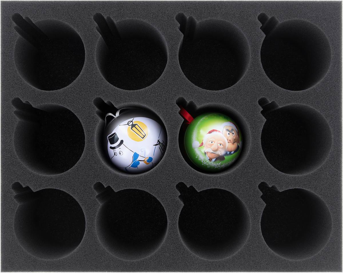 FS080A007 Feldherr Schaumstoffeinlage für 12 Christbaumkugeln / Weihnachtskugeln Durchmesser 70 mm mit Krone