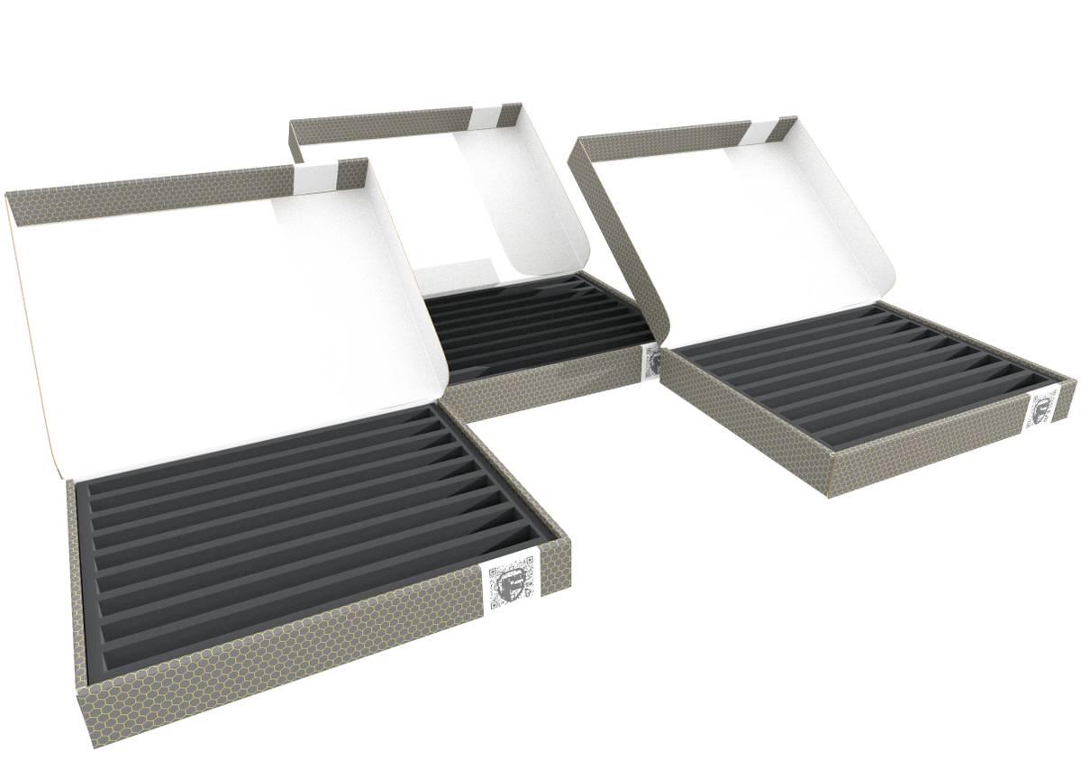3 Stück Sparpack Feldherr Lagerbox FSLB040 für Modelleisenbahnen, Loks und Fahrzeuge - 9 Stege für Spur N - stehend