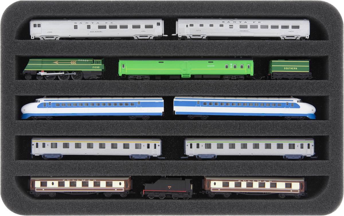 HS030A008 Schaumstoffeinlage Spur Z - liegend - 5 Stege für Modelleisenbahn Loks, Wagons und Fahrzeuge