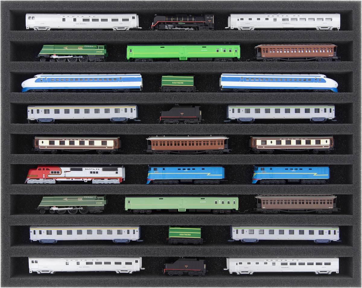 FS030A002 Schaumstoffeinlage Spur Z - liegend - 9 Stege für Modelleisenbahn Loks, Wagons und Fahrzeuge