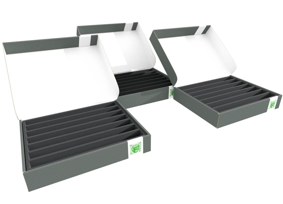 3 Stück Sparpack Feldherr Lagerbox FSLB055 für Modelleisenbahnen, Loks und Fahrzeuge - 7 Stege für Spur TT - stehend