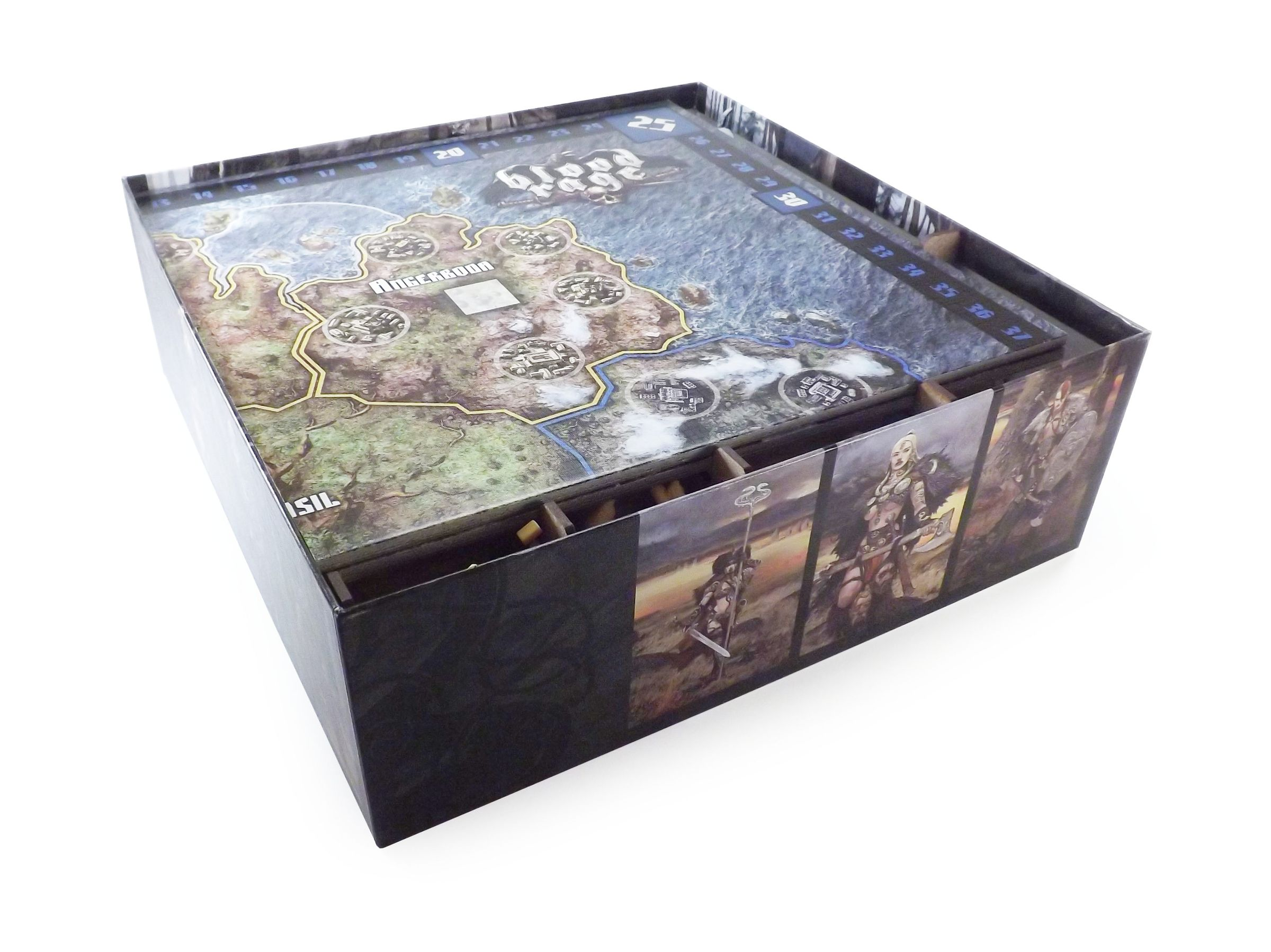 Boardgame Organizer for Blood Rage and Mystics of Midgard, Gods of Asgard, 5 Players and all Kickstarter Exclusives