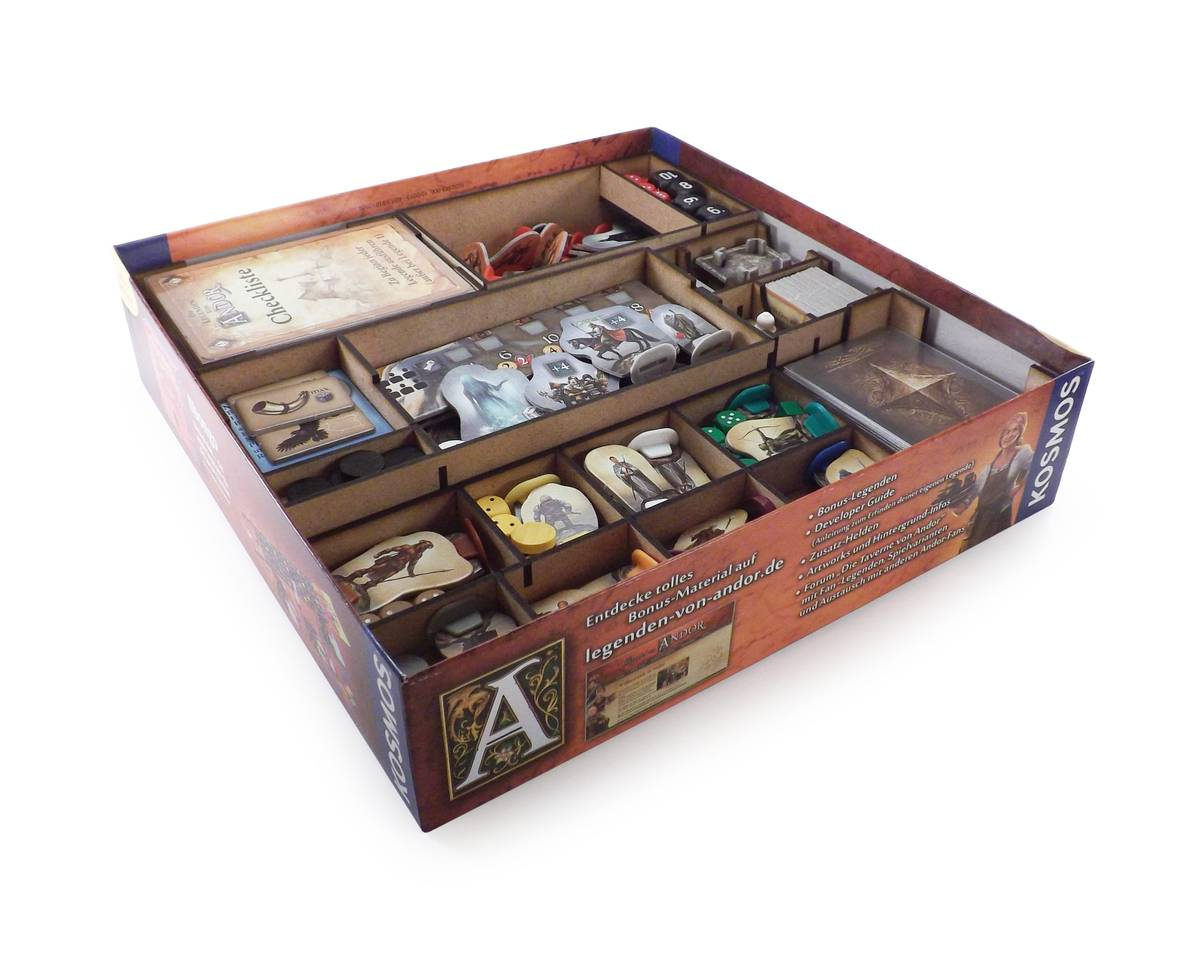 Boardgame Organizer for Legends of Andor and its expansion New Heroes