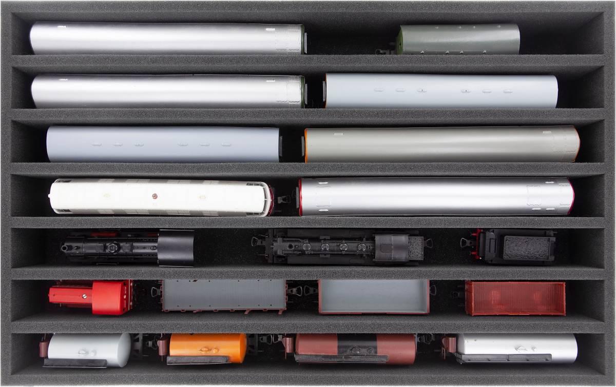 DS065A006 Schaumstoffeinlage Spur 00 - stehend - 7 Stege für Modelleisenbahn Loks, Wagons und Fahrzeuge