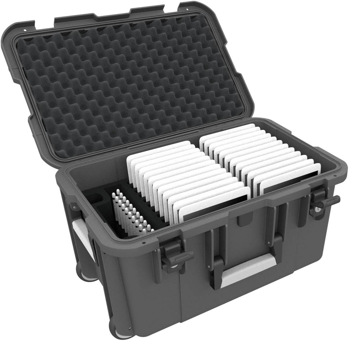 Koffer / Trolley für 24 Tablets in schmalen Hüllen - Fächer 14 mm breit - extra Pencil Halter - kompatibel mit Apple iPad, Samsung Galaxy Tab A oder Microsoft Surface Go - anthrazit