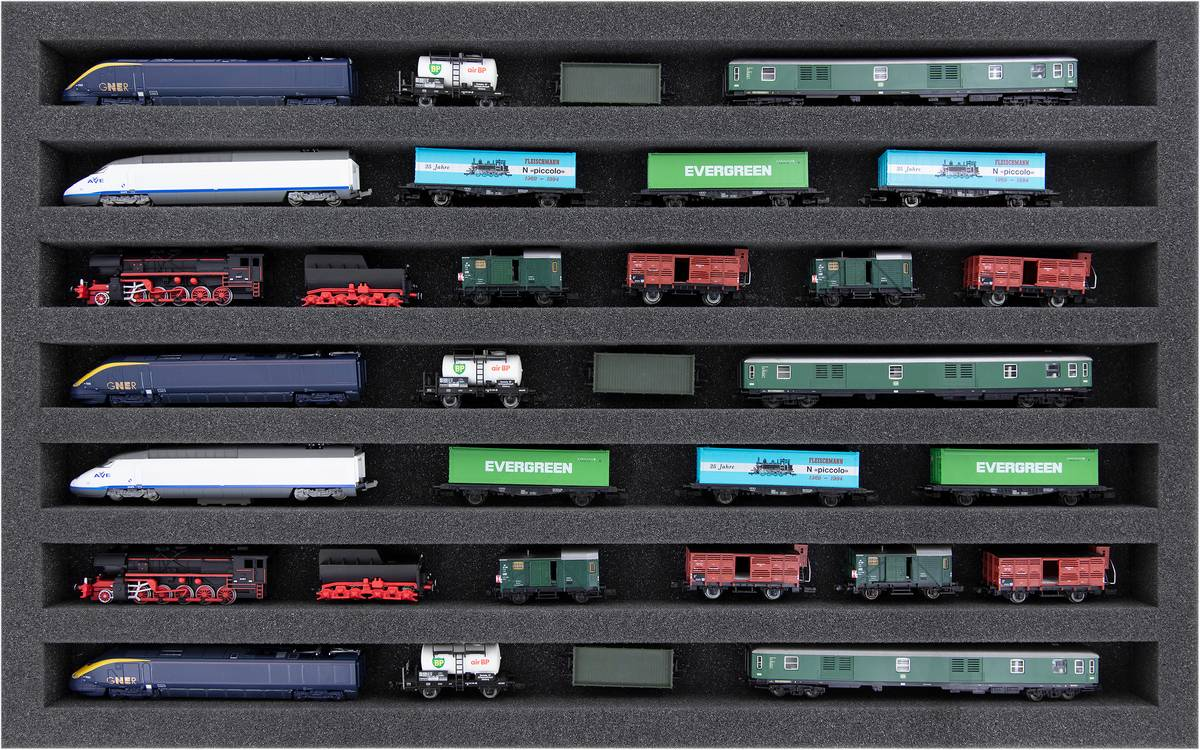 DS035A001 Schaumstoffeinlage Spur N - liegend - 7 Stege für Modelleisenbahn Loks, Wagons und Fahrzeuge