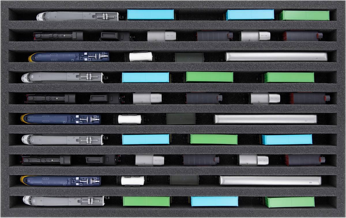DS040A002 Schaumstoffeinlage Spur N - stehend - 10 Stege für Modelleisenbahn Loks, Wagons und Fahrzeuge