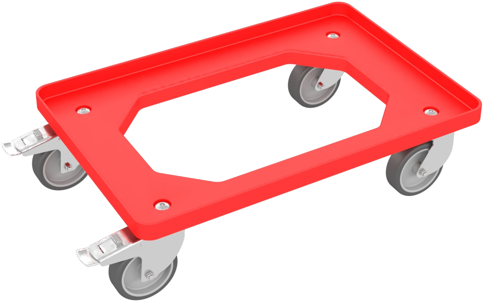 Transportroller rot mit Gummirädern und Feststellbremse für Euroboxen bis 600 mm x 400 mm