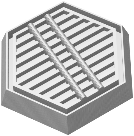 Feldherr Hexagonal Base aus Kunststoff für Brettspiele / Tabletops - 35 mm x 30 mm x 6 mm