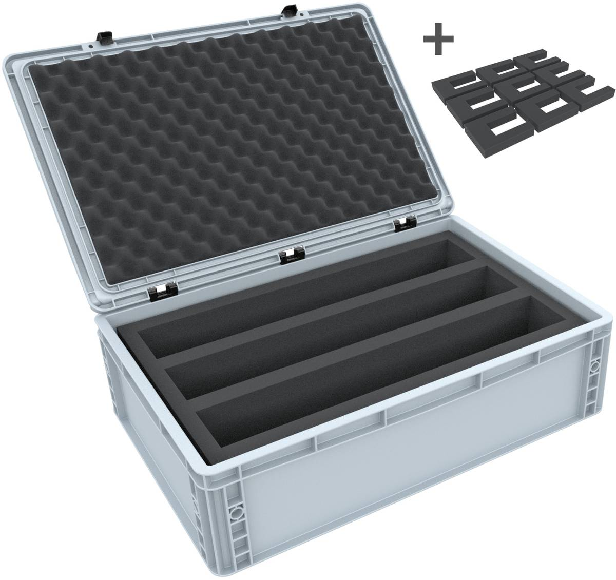 Euro Box / Container Case for model railway locomotives, wagons and vehicles - 3 slots for 0 Gauge - vertical