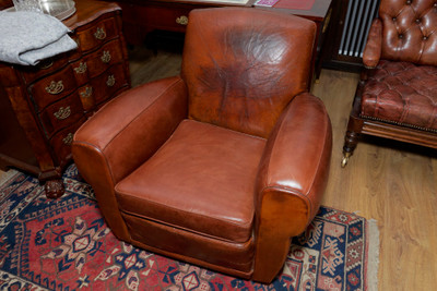 Art Deco Lounge Chair, real leather – Bild 1