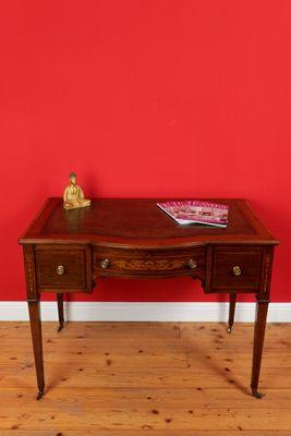 Inlaid Bowfront Writing Table, Mahogany – Bild 1