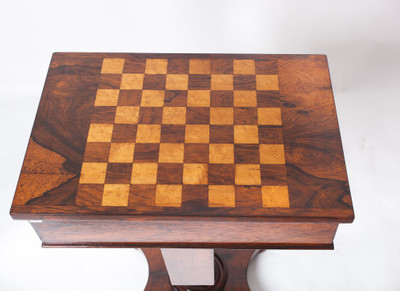A very rare Work- and Chess-Table, Rosewood, William IV, England ca. 1830´s – Bild 6