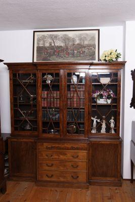 Breakfront Bookcase, Mahogany, Victorian
