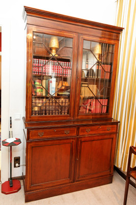 Inlaid Two Door Bookcase, Mahogany