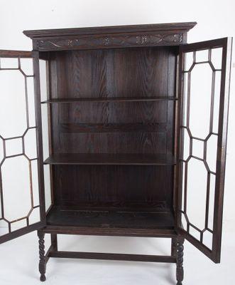 A rare Display-Cabinet, Oak, Victorian, England ca.1890`s; – Bild 2