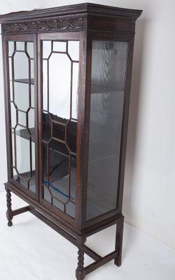 A rare Display-Cabinet, Oak, Victorian, England ca.1890`s; – Bild 3