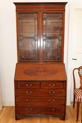 Inlaid Bureau Bookcase, Mahogany, Edwardian