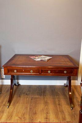 Stretcher Writing Table, Victorian, Mahogany – Bild 1