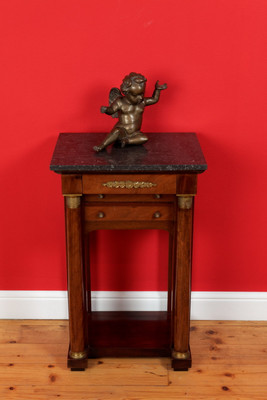 Console Table in the Empire-Style, Napoleon III, Walnut, Marble Top