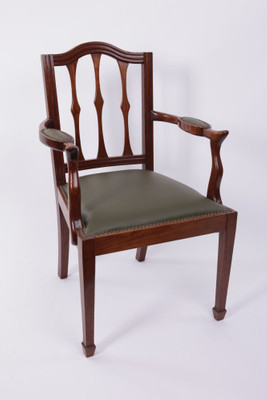 Armchair, Mahogany with Leather Seat, Edwardian, England ca. 1900 – Bild 1