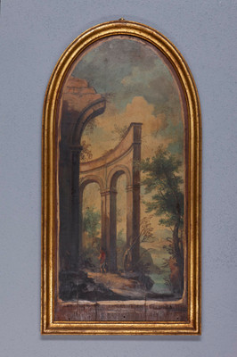 Pair of halfround oilpaintings of a Landscape