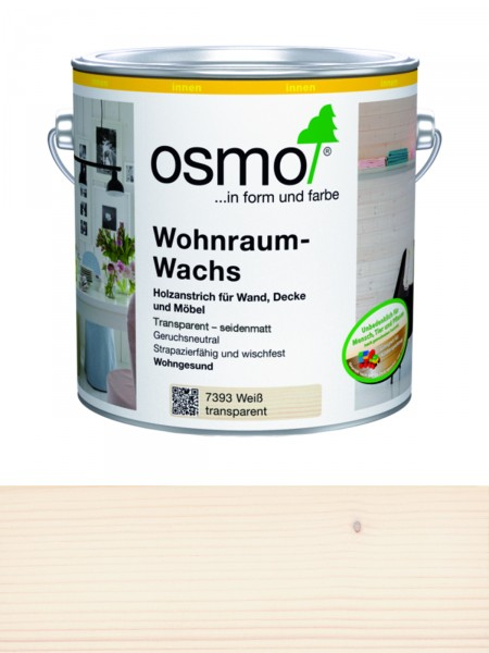 Osmo Wohnraumwachs weiß 7393 2,50L Transparent, seidenmatt für innen