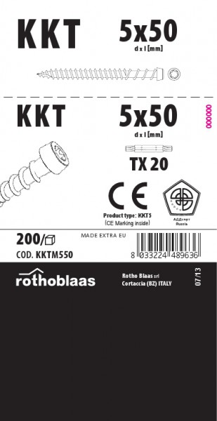 Terrassenschraube KKTM 5,0x50mm Braun 200 Stück/Paket TX20 Kohlenstoffst.+ Bit – Bild 1