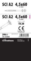 Terrassenschraube SCI 4,5x60mm V2A AISI304  200 Stück/Paket + Bit TX25 001