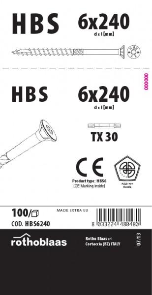 Holzbauschrauben HBS 6,0x240mm TX25 weiß verzinkt   100 Stück/Paket mit Bit   Bohrspitze Senkkopf Fräsrippe Wax – Bild 1
