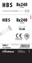 Holzbauschrauben HBS 8,0x240mm TX40 weiß verzinkt   100 Stück/Paket mit Bit   Bohrspitze Senkkopf Fräsrippe Wax 001