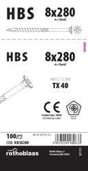 Holzbauschrauben HBS 8,0x280mm TX40 weiß verzinkt   100 Stück/Paket mit Bit   Bohrspitze Senkkopf Fräsrippe Wax 001