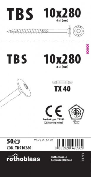 Tellerkopfschrauben 10,0x280mm TX40 weiß verzinkt Cr³+ TBS 50 Stück/Paket + Bit   Kopf 25mm Bohrspitze Fräsrippe Wax – Bild 1