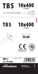 Tellerkopfschrauben 10,0x400mm TX40 weiß verzinkt Cr³+ TBS 50 Stück/Paket + Bit   Kopf 25mm Bohrspitze Fräsrippe Wax 001