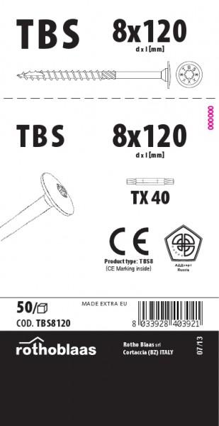 Tellerkopfschrauben 8,0x120mm TX40 weiß verzinkt Cr³+ TBS 50 Stück/Paket + Bit   Kopf 19mm Bohrspitze Fräsrippe Wax – Bild 1
