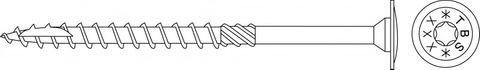Tellerkopfschrauben 8,0x400mm TX40 weiß verzinkt Cr³+ TBS 50 Stück/Paket + Bit   Kopf 19mm Bohrspitze Fräsrippe Wax – Bild 2