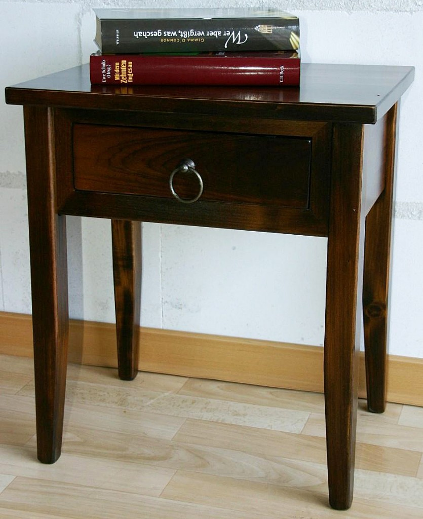 Nachttisch Nachtkommode Beistelltisch Nachtschrank braun nussbaum Farbe – Bild 8