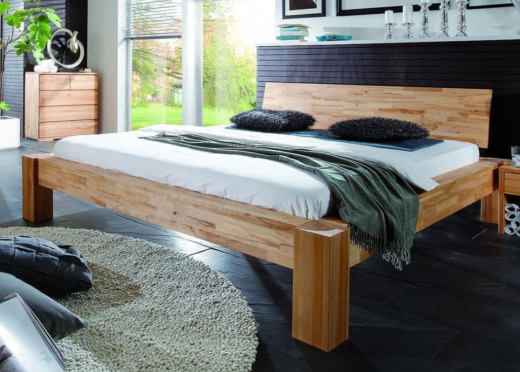 balkenbett holzbett bettgestell buche massiv holz 140x200. Black Bedroom Furniture Sets. Home Design Ideas