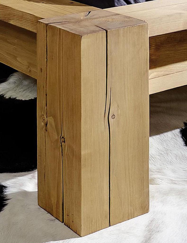 Balkenbett 160x200 Holzbett Bettgestell Vollholz Kiefer rustikal – Bild 2