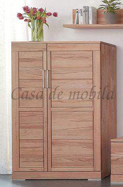 Mehrzweckschrank 100x154x42cm, 1 schmale Holztür links, 1 breite Holztür rechts, Kernbuche massiv geölt