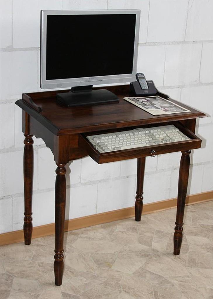Sekretär mit Tastaturauszug Computertisch Vollholz massiv braun nussbaum Farbe – Bild 2