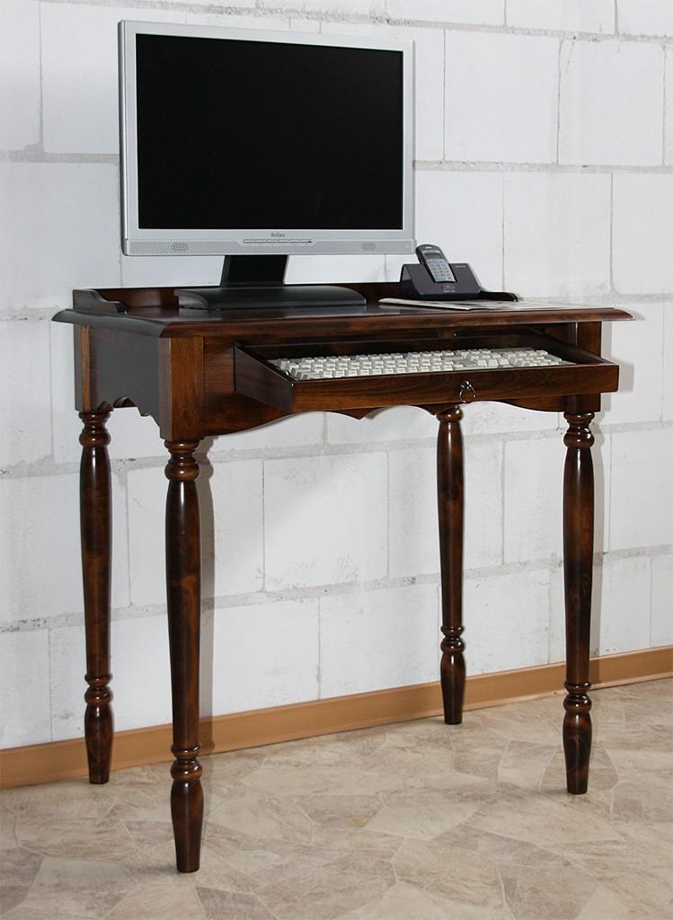 Sekretär mit Tastaturauszug Computertisch Vollholz massiv braun nussbaum Farbe – Bild 1