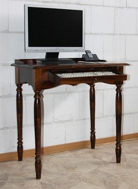 Sekretär 78x82x52cm, mit Tastaturauszug, Pappel massiv nussbaumfarben lackiert