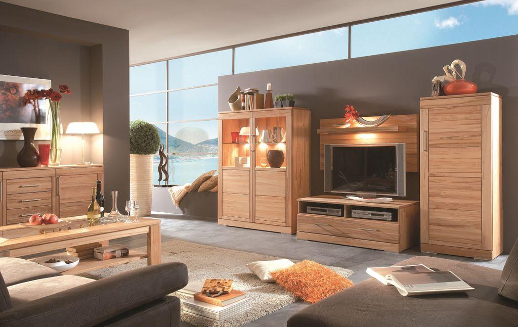 Massivholz Wandpaneel 120x62x29,8 cm mit Holzregal 99,4 cm Kernbuche massiv Wandregal TV-Paneel – Bild 2