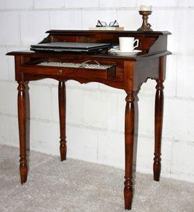 Italienischer Sekretär Schreibtisch Vollholz massiv braun nussbaum Farbe 001