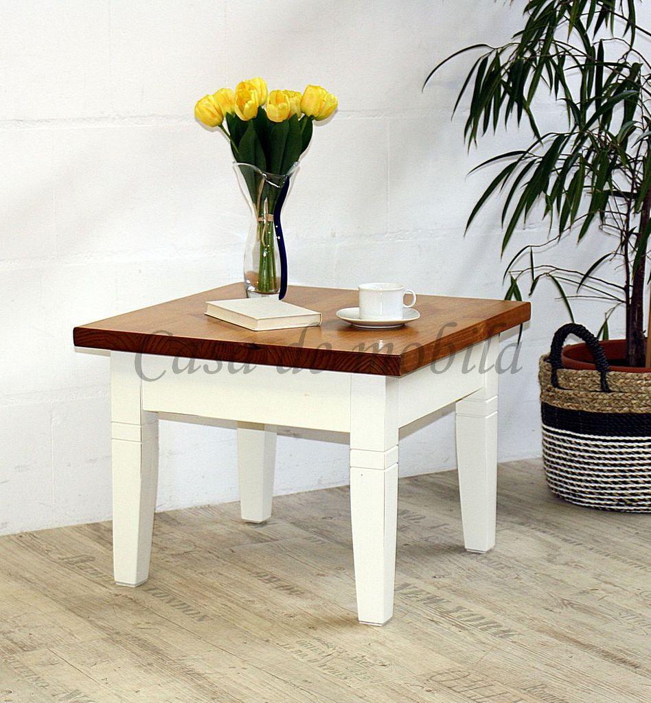 Beistelltisch 60x60x46cm Pinie massiv Weiß/Honig Tisch