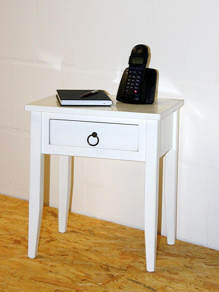 Nachttisch Nachtkommode Beistelltisch Nachtschrank weiß – Bild 3