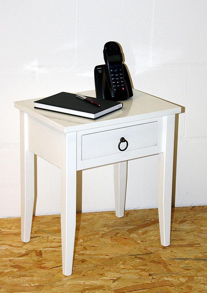 Nachttisch Nachtkommode Beistelltisch Nachtschrank weiß – Bild 1